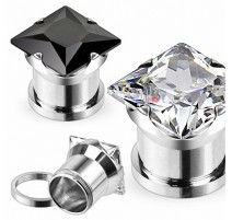Piercing Tunnel Plug Acier chirurgical Strass Carré