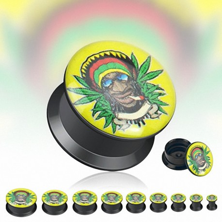 Achat Piercing Plug Acrylique Noir Rasta Jamaique Cannabis