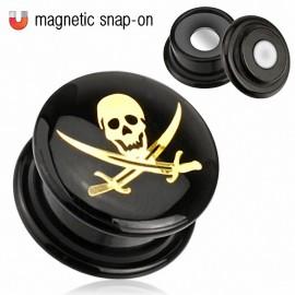 Piercing Plug Acrylique Noir Magnétique Crâne Pirate