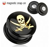 Achat Piercing Plug Acrylique Noir Magnétique Crâne Pirate