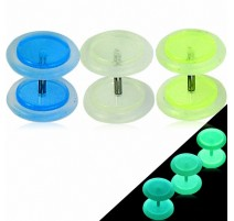 Faux Piercing Plug Oreille Acrylique Glow in the Dark