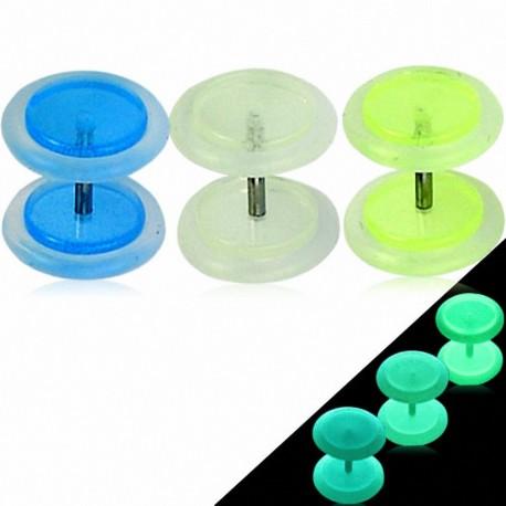 Faux Piercing Plug boucle Oreille Acrylique Glow in the Dark Phosphorescent