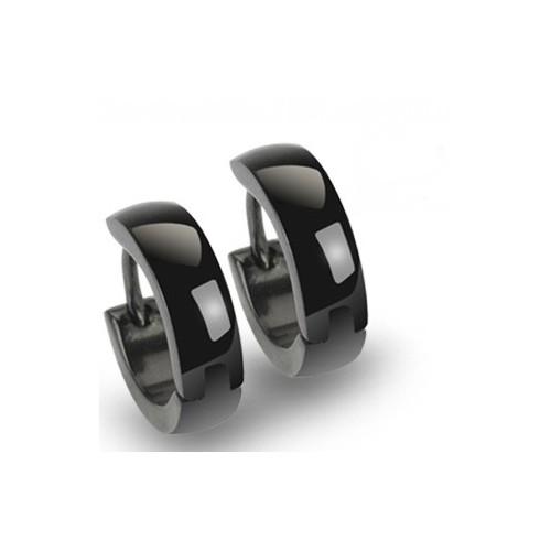paire boucles d 39 oreille homme anneaux noir acier inoxydable. Black Bedroom Furniture Sets. Home Design Ideas