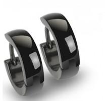 Paire Boucles d'oreille Anneaux Noir acier inoxydable