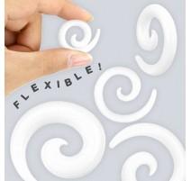 Piercing Ecarteur Spirale en Silicone Flexible Blanc