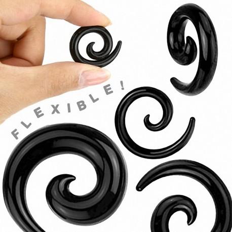 Piercing Ecarteur Spirale en Silicone Flexible Noir