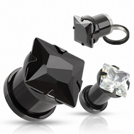 Piercing Tunnel Titanium Noir Strass Carré