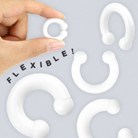 Piercing Plug Fer à Cheval en Silicone Flexible Blanc
