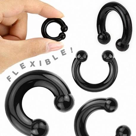 Piercing Plug Fer à Cheval en Silicone Flexible Noir