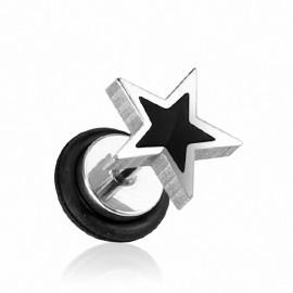 Faux Piercing Plug Oreille Etoile Noire