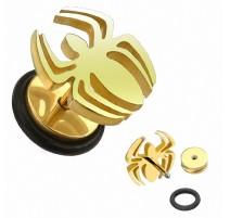 Faux Piercing Plug Araignée Dorée