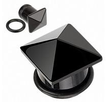 Piercing Plug Pierre semi précieuse Agate Noire Pyramide