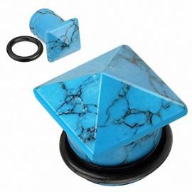 Piercing Plug Pierre semi précieuse Turquoise Pyramide