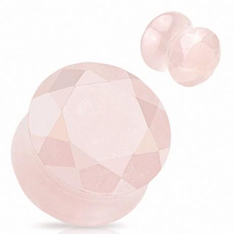 Piercing Plug Pierre semi précieuse Quartz Rose Facettes