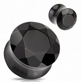 Piercing Plug Pierre semi précieuse Agate Noire Facettes