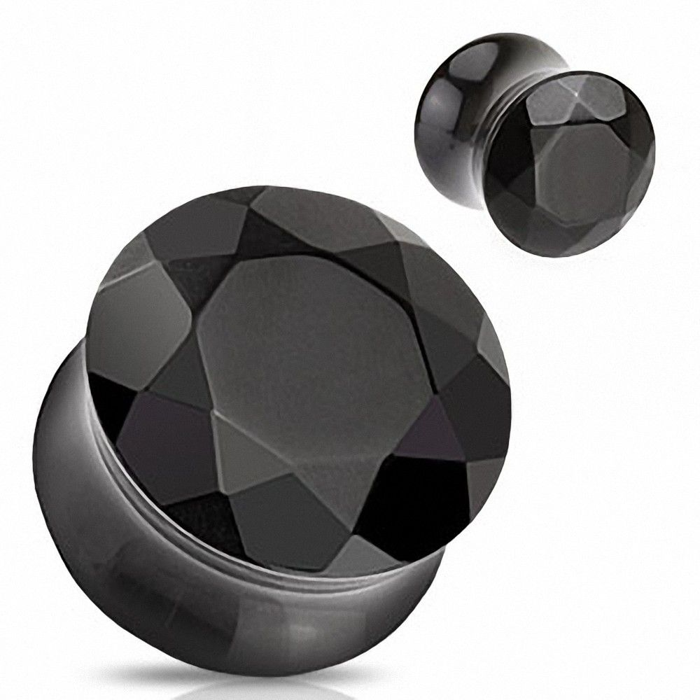 piercing plug pierre semi pr cieuse agate noire facettes. Black Bedroom Furniture Sets. Home Design Ideas