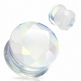Piercing Plug Pierre semi précieuse Opale Facettes