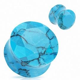Piercing Plug Pierre semi précieuse Turquoise Facettes