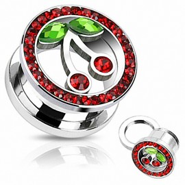 Piercing Tunnel Cerise Strass