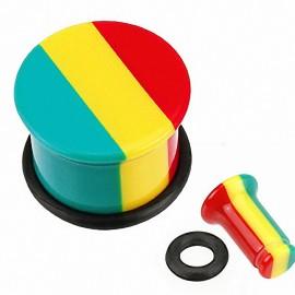 Piercing Plug Acrylique Rasta Jamaique