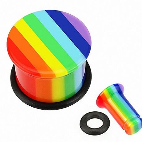 Piercing Plug Acrylique Rainbow Gay Pride