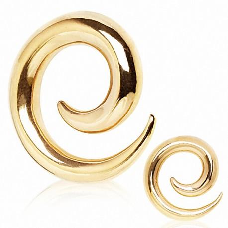 Piercing écarteur spirale plaqué or