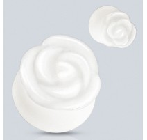 Piercing plug pierre jade blanche rose