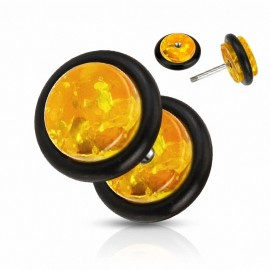 Faux Piercing Plug Ambre
