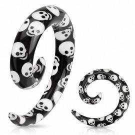 Piercing écarteur spirale tête de mort