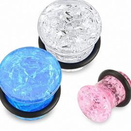 Piercing plug acrylique verre fissuré