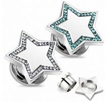 Piercing plug acier étoile strass