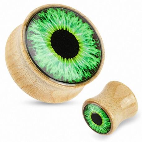Piercing plug bois d'érable oeil vert