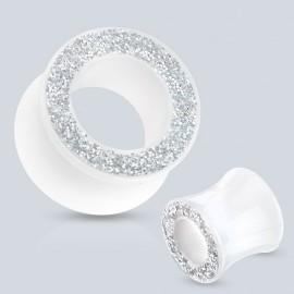 Piercing tunnel acrylique blanc paillettes