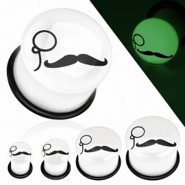 Piercing plug glow in the dark moustache