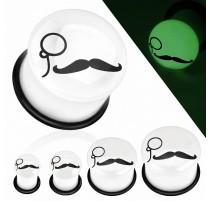 Piercing plug glow in the dark moustache