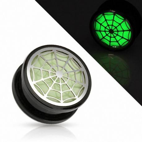 Piercing plug toile d'araignée Glow in the dark