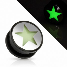 Piercing plug étoile Glow in the dark