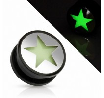 Piercing plug étoile Glow in the dark