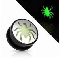 Piercing plug araignée Glow in the dark
