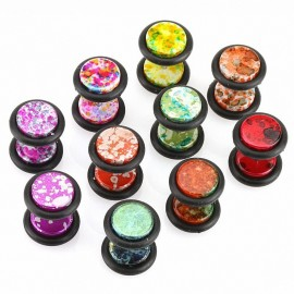 Faux Piercing plug acrylique tâches métallisé