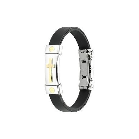 Bracelet caoutchouc et acier inoxydable - Croix Plaqué Or