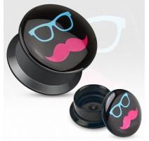 Piercing plug acrylique lunette moustache