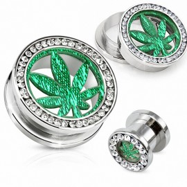 Piercing tunnel feuille de cannabis