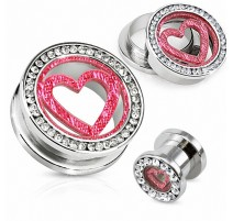 Piercing tunnel coeur strass
