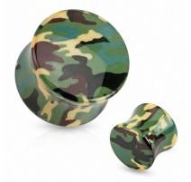 Piercing plug acrylique camouflage vert
