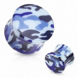 Piercing plug acrylique camouflage bleu
