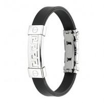 Bracelet caoutchouc et acier inoxydable - Labyrinthe
