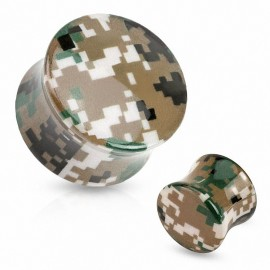 Piercing plug acrylique camouflage pixelisé marron