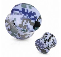 Piercing plug acrylique camouflage pixelisé bleu