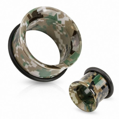 Piercing tunnel acrylique camouflage
